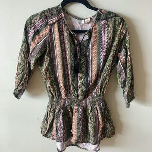 Green Tunic Top with Aztec Print